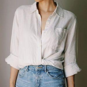 Vintage 100% Linen Button Up Blouse